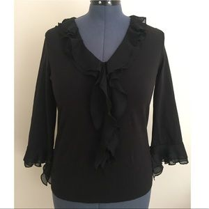 Jones New York Black Ruffle Top Size Large